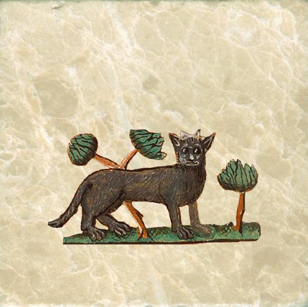 Black cat with artichokes. Artichokes were considered an aphrodisiac.