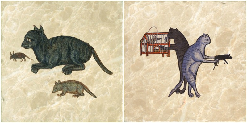 Cat 101: Identifying Prey. Left: Cat with mouse and rat.  Right: Cats carrying off birds and mice.
