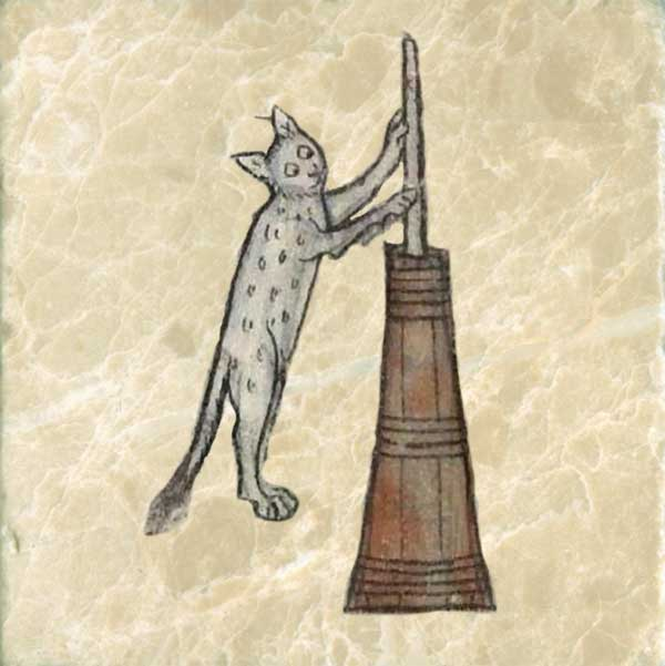 Homesteading cat churning butter. If you want a cat to stay, slather its paws in butter.