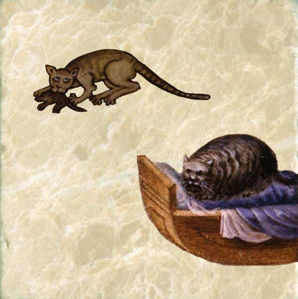 Early medieval cat with mouse, and medieval cat sleeping in cradle