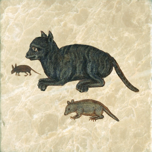 Cat, mouse, rat from illuminated ms.