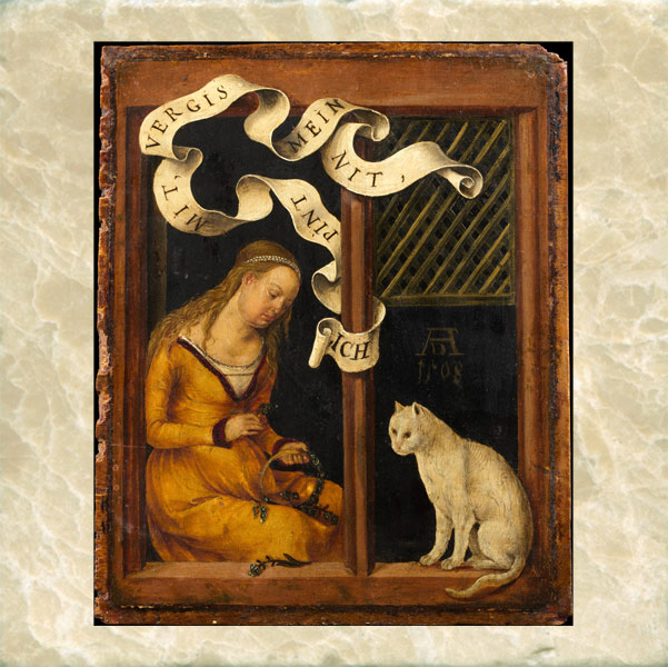 Girl making a garland with her cat, Hans von Kulmach, 1508