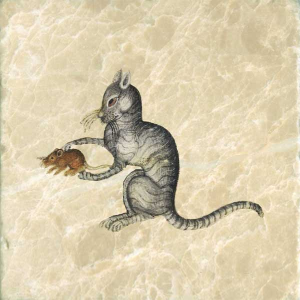 Luttrell Psalter cat, playing with mouse