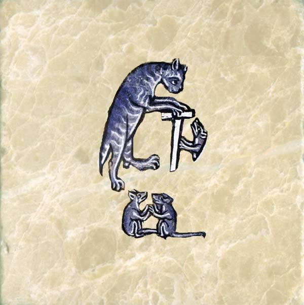 Medieval cat preaching to mice