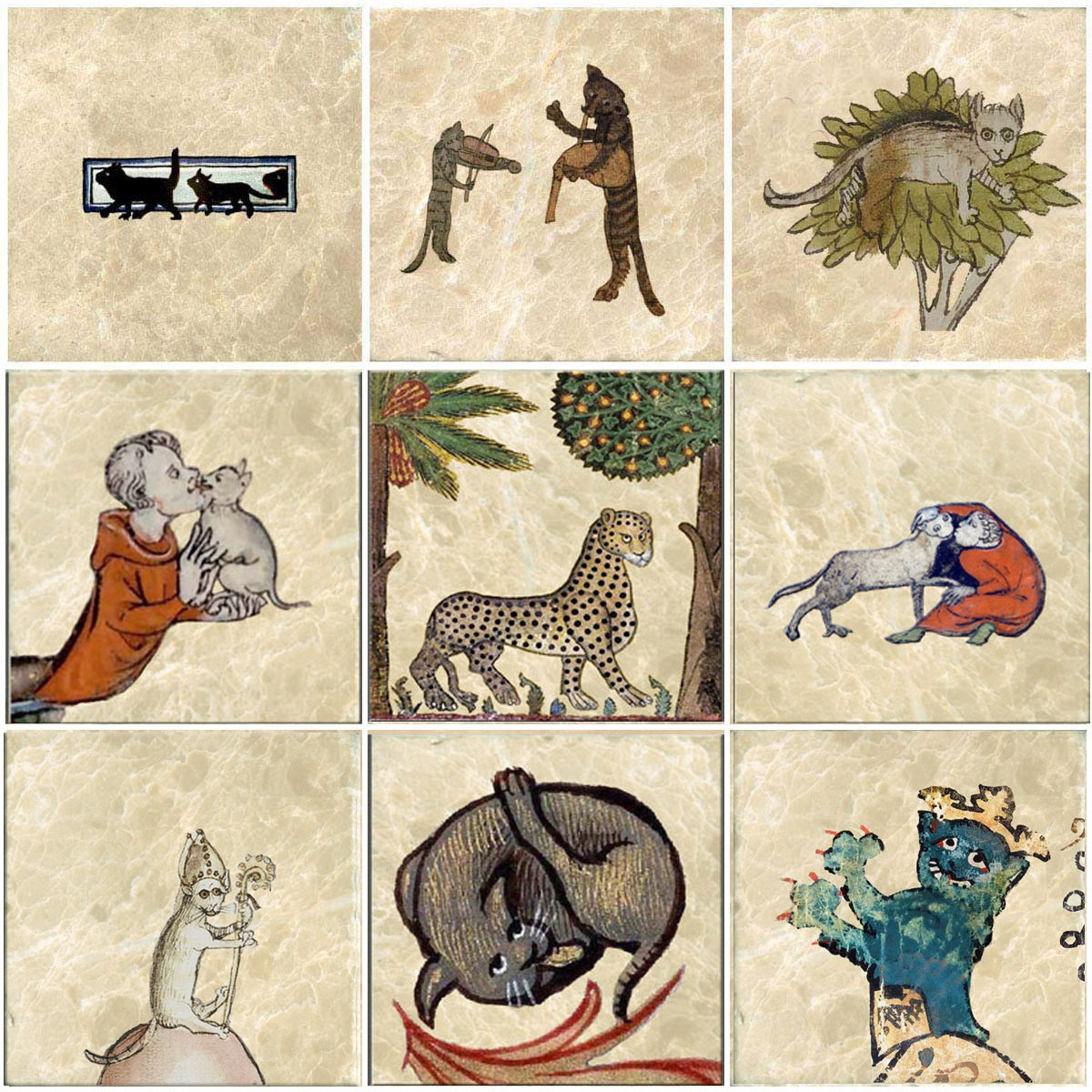 From top left: Black cats 13c.; Musical cats, 1320; Cat stuck in tree from Greek Fables, 1475; Unknown cat lover; Paerma Palazzo Dei Morani cat 12c.; Monk and cat from 14c Book of Hours, Flanders; Cat Bishop, 15c. German; Lyon Ms. 6881 cat; Crowned cat from Zurich armorial