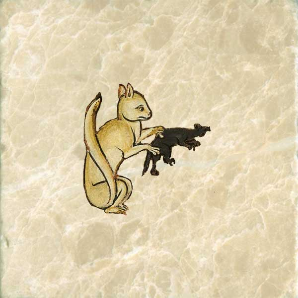 Early medieval yellow cat, having caught a mouse