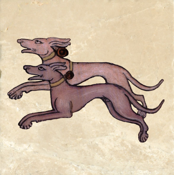 Pair of hunting dogs, Luttrell Psalter.