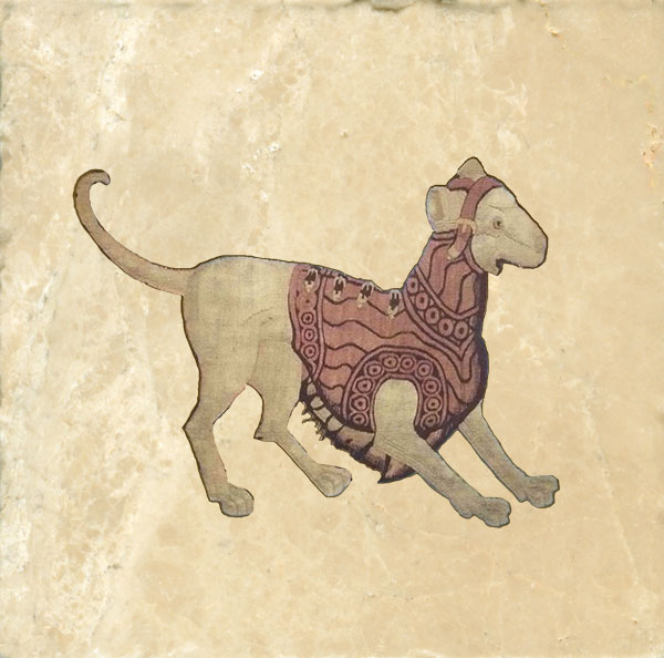 Early Renaissance dog in a suit of armor.