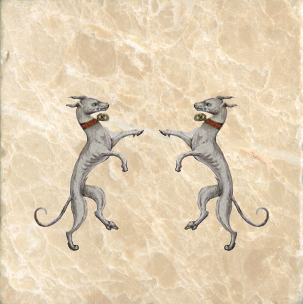 Dancing grahounds from Coat of Arms of Henry VII.