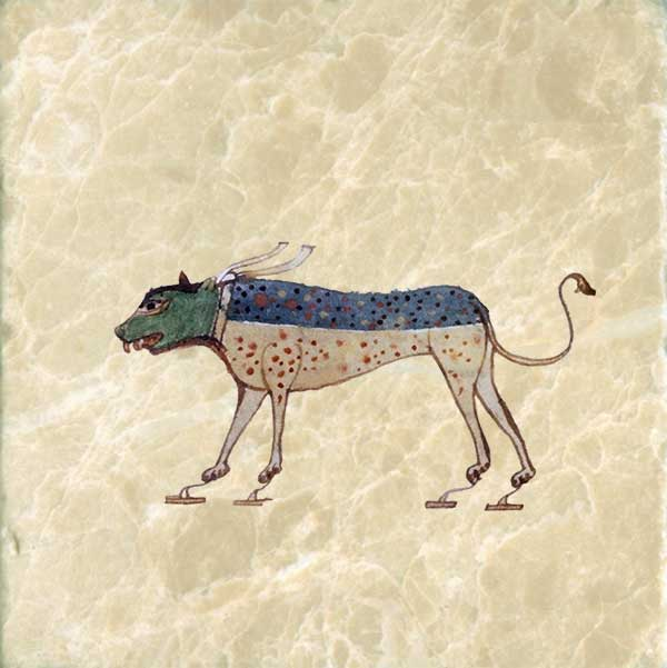 The Artes Quadriviales illustrated as a dog. The four arts are: arithmetic, geometry, astronomy, and music.
