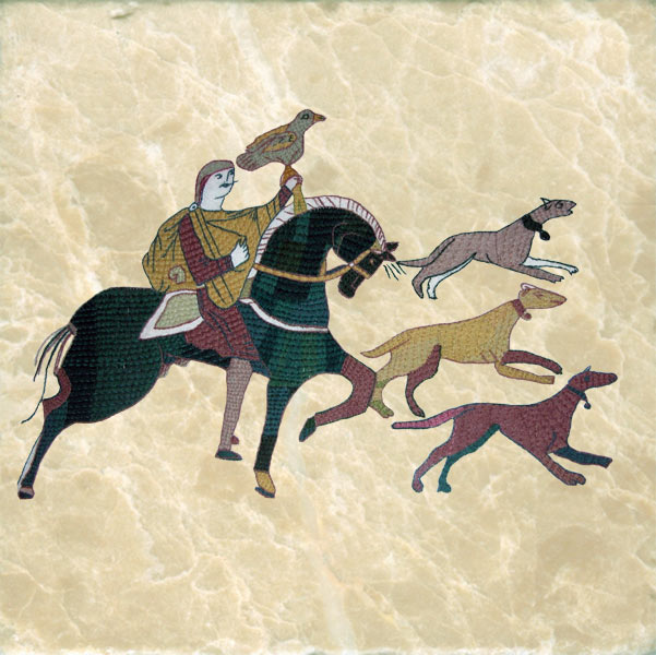 Three Bayeux tapestry dogs, hunting.