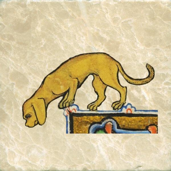 Late 13th century dog alerted to something below. Illuminated Bible (Biblia Porta), French-Flemish.