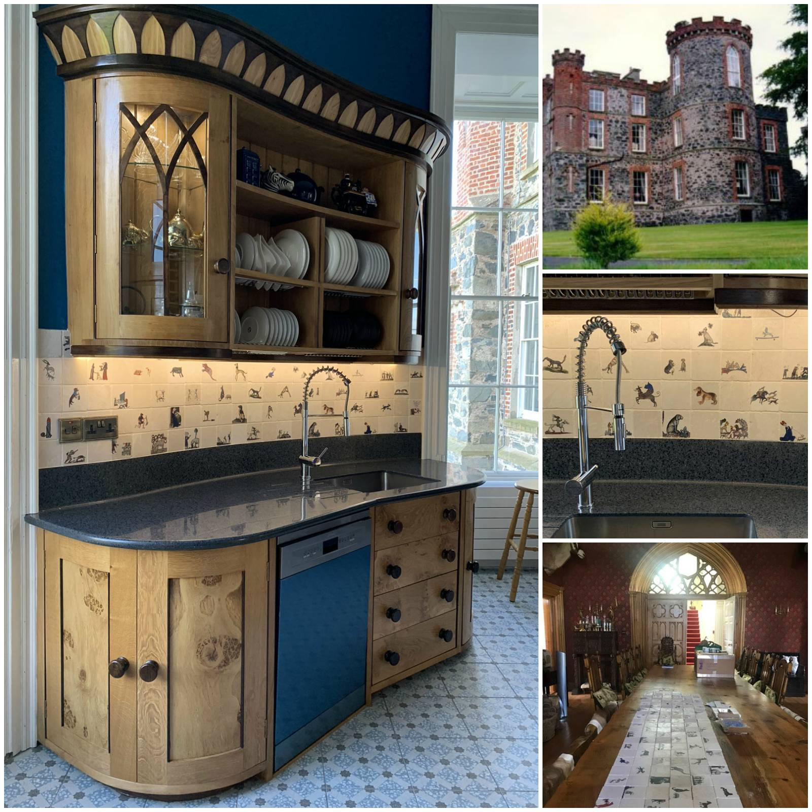 Medieval dogs installed in tower kitchen at Carrowdore Castle, Northern Ireland