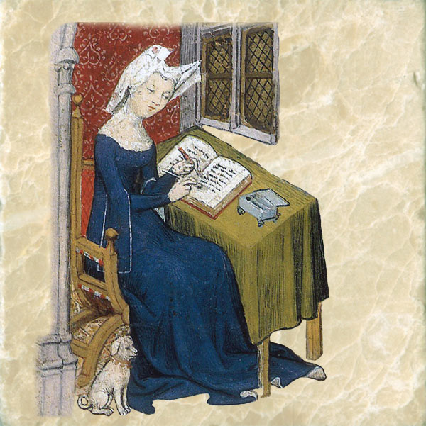Christine de Pizan at her writing desk with her dog.