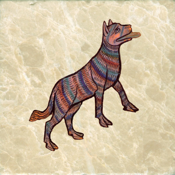 African rainbow dog, with cloven hooves.