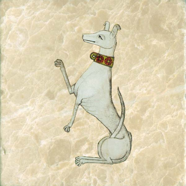 Bored dog from a coat of arms.