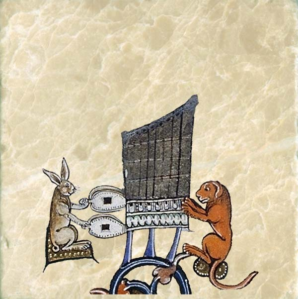 Dog and rabbit playing an organ, Gorleston Psalter, 1310-1314