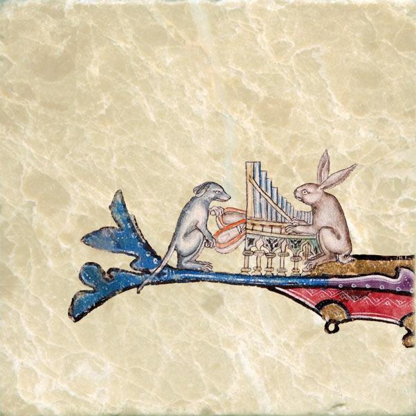 Dog and rabbit playing an organ, Luttrell Psalter