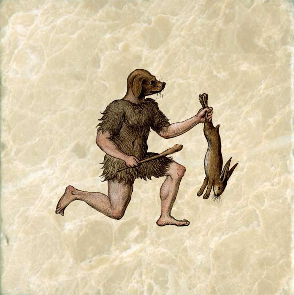 Medieval dog-headed man hunting a rabbit.
