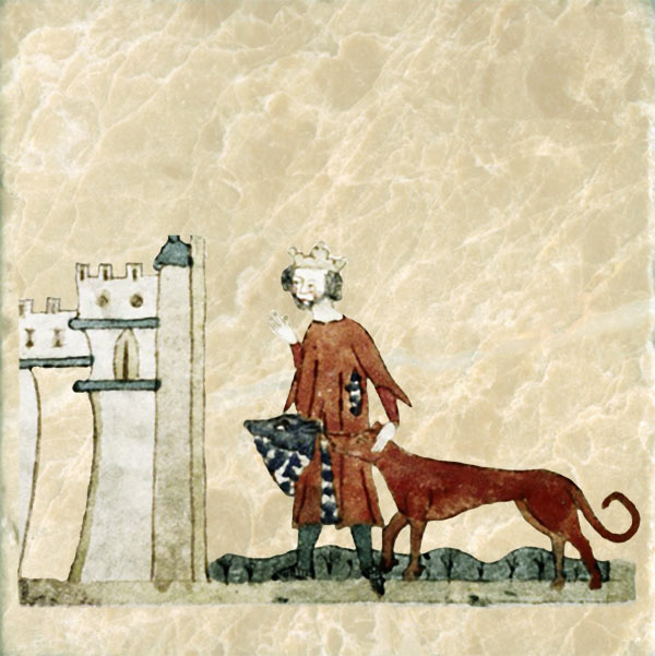 King Garamentes Returns to his Castle with his Dogs, MS Douce 151.