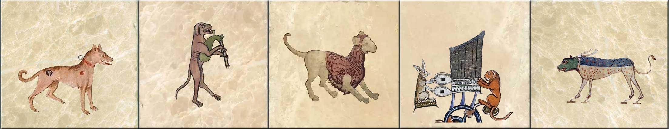 Medieval Dogs, dog tiles. WilliamMorrisTile.com