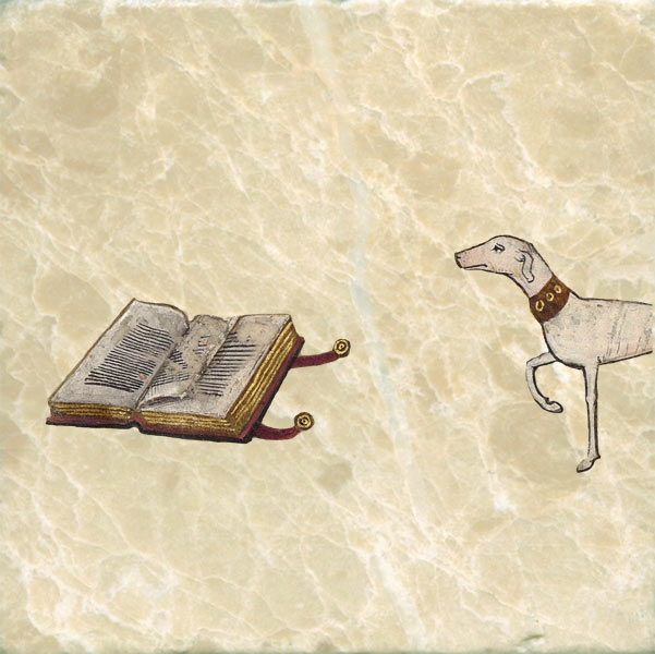 Chronicles of Froissart, dog with book.