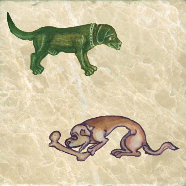 Sad green hunting dog and dog guarding bone from French Book of urs c. 1350.