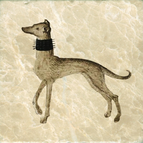 Detail of dog from the arrival of Isabeau of Bavaria in England-occupied Paris, 1389.