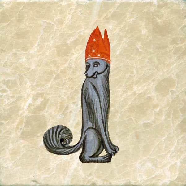 Medieval dog bishop with orange mitre_cap.