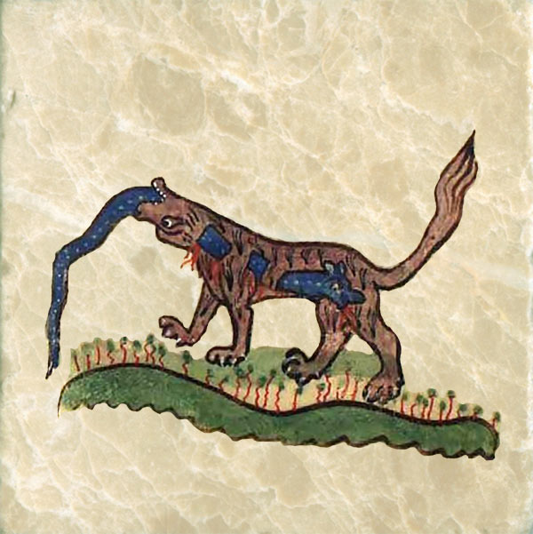 Medieval dog eating something he shouldn't.
