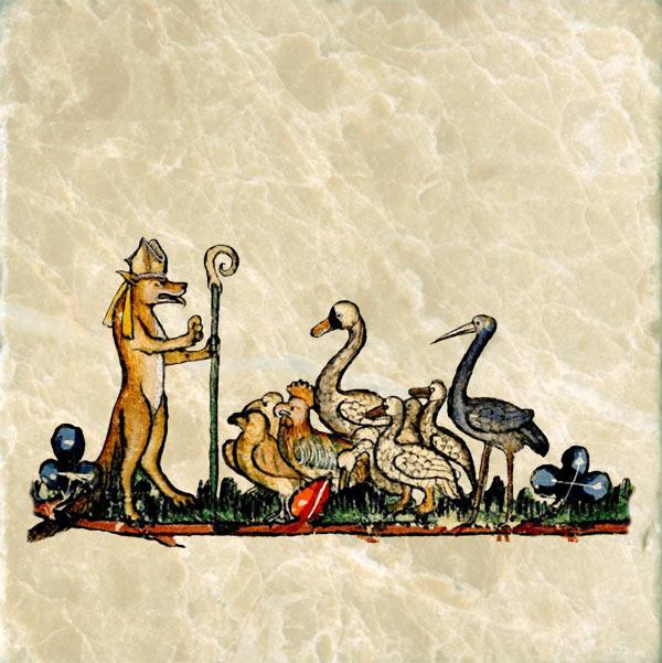 Medieval dog sermonizing to fowl.