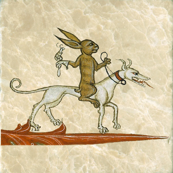 Medieval rabbit riding a dog with a snail falcon.
