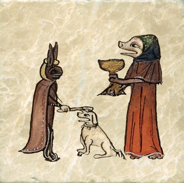 Medieval rabbit smiting a dog with a stick. Barcelona Haggadah.