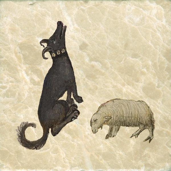 Medieval sheep dog with ramlike ears.