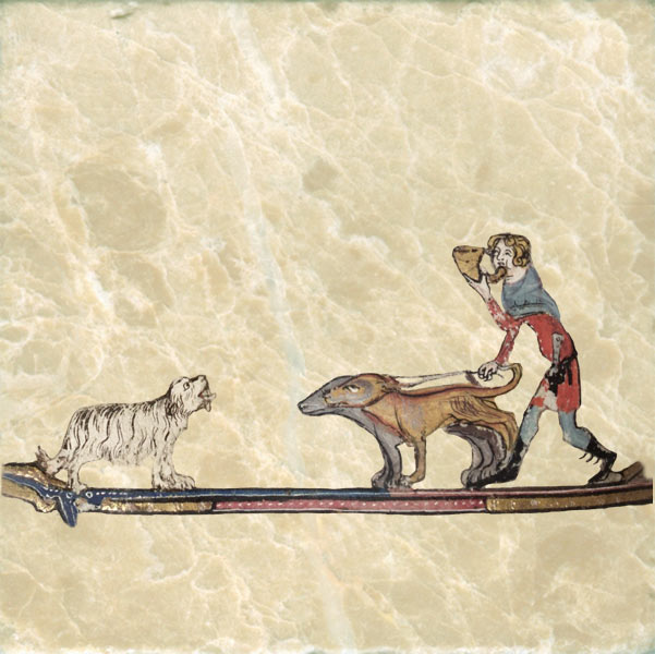 Dogs meeting from Romance of Alexander the Great, 1338-1344.