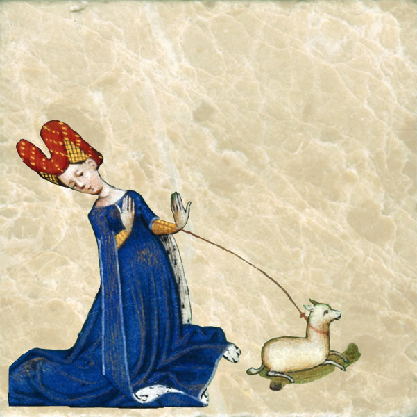 Detail from Flemish Book of Hours 1450-55: St. George and the Dragon. Medieval ladies were quite delicate.