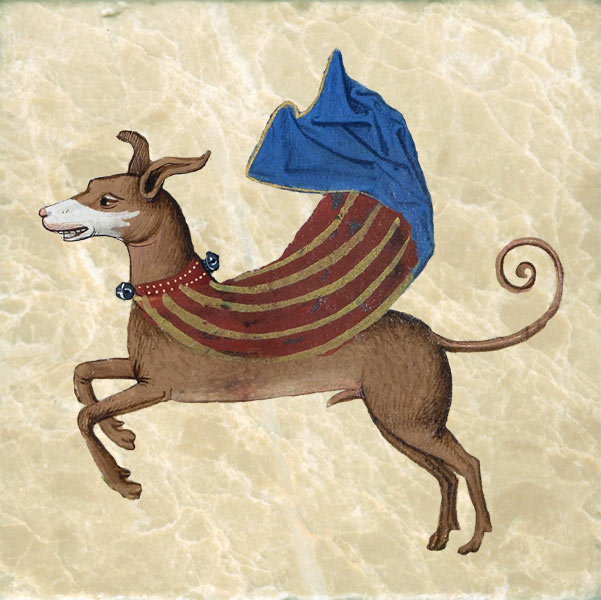 Medieval superdog in striped cape from the Trivulzio Book of Hours, 1400s.
