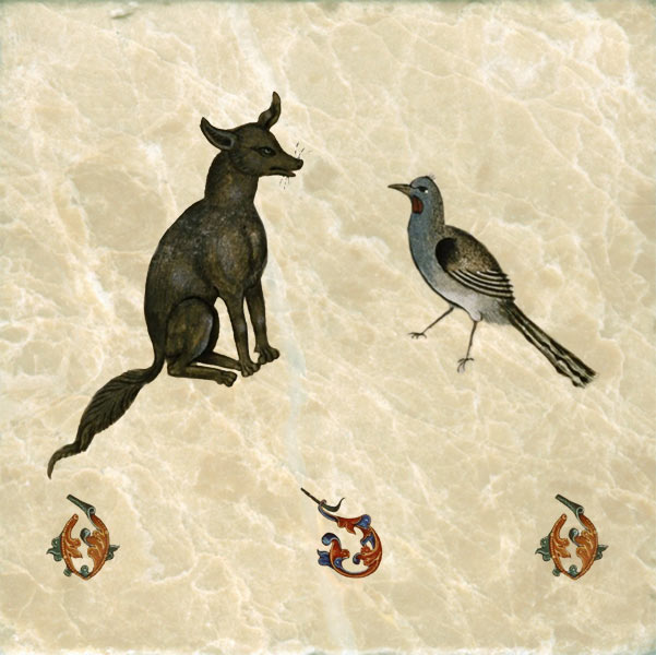 Tudor bestiary dog, chatting up a bird, 1520.