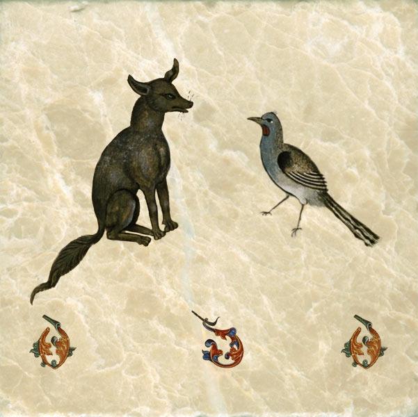 Tudor bestiary dog, chatting up a bird, 1520.