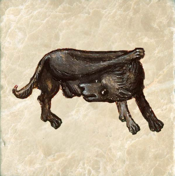 Medieval dog doing what dogs do.