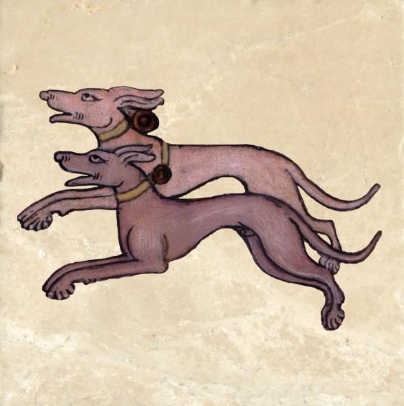 Hounds from Luttrell Psalter.