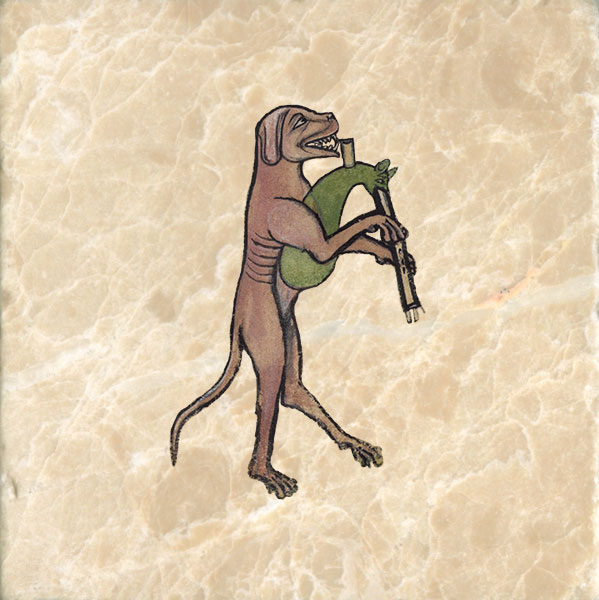 Dog playing a cat bagpipe, from The Funeral of Renard the Fox.