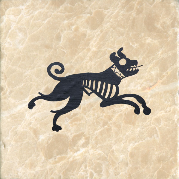 Dog from Persian encaustic tile, 11th century.