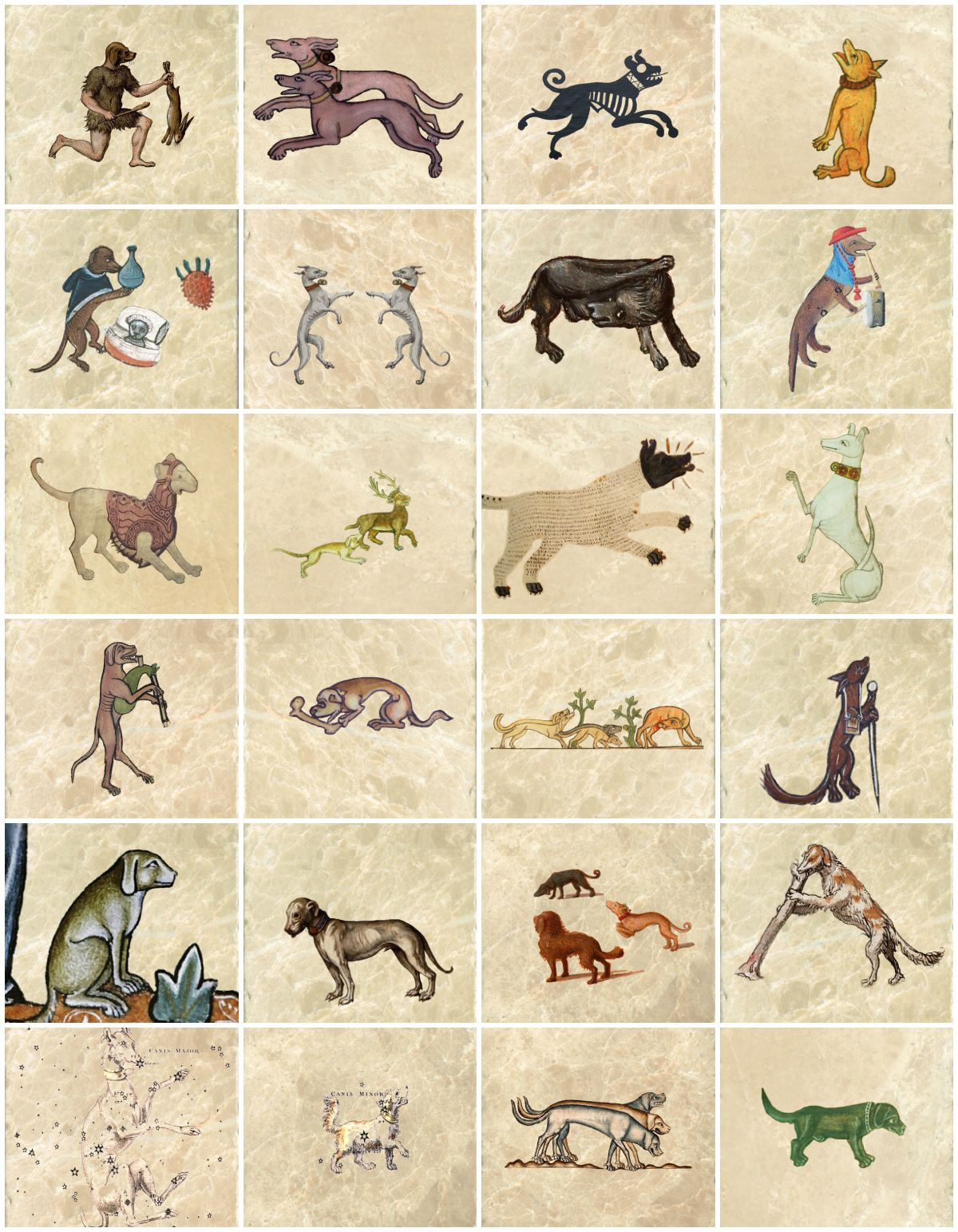 Medieval Dog Tiles. From top left: 	Dogheaded hunter, Luttrell Psalter hounds, Dog on encaustic Persian tile 1115, Early medieval dog begging, Medieval dog treating a cat for melancholy with milk thistle) Two dancing greyhounds 1485, Medieval dog doing what dogs do, Morgan Library dog beating a drum, Dog in a suit of armor early renaissance,	Gorelston Psalter dog 1310 attacking a deer, 9th century illustration of Sirius from The Araeta France, Dog from the coat of arms of Henry VII,  Dog playing a cat bagpipe from The Funeral of Renard the Fox c.1300, Medieval dog eating a bone from French Book of Hours c.1350, Dogs braying at the hunt, Marginalia dog carrying a satchel, Medieval dog attendant, Italian pit dog, Canis Angelicus Albus, Three street dogs, Dog chewing a bone forming the letter 'A', Canis Major star map, Canis Minor star map, Three brackers c. 1400, Sad green hunting hound.