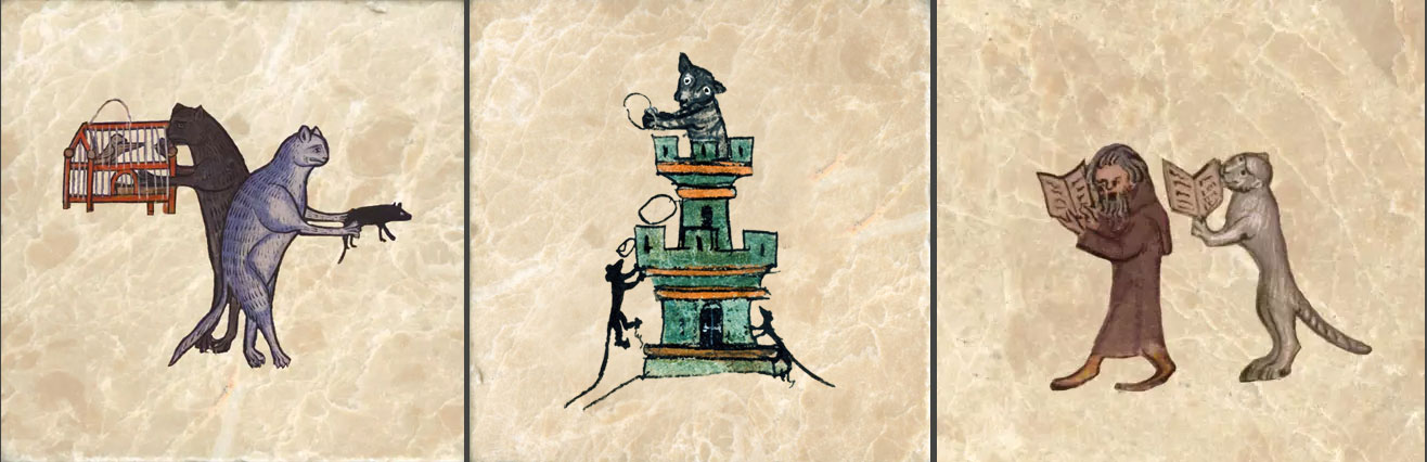 Medieval Cats. From left: 13th century bestiary cats with bird cage, Medieval cat and monk walking and praying, Cat defending fortress from a siege of mice.