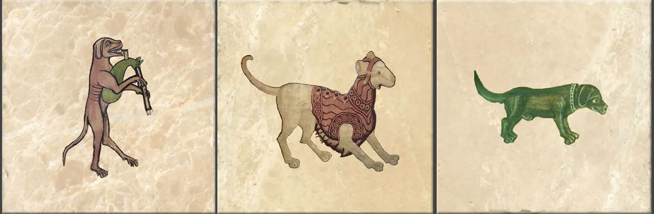 Medieval Dogs. From left: Dog playing a cat bagpipe from <em>The Funeral of Renard the Fox</em>, c.1300; dog in a suit of armor, early renaissance; sad green hunting hound, dog from the coat of arms of Henry VII.