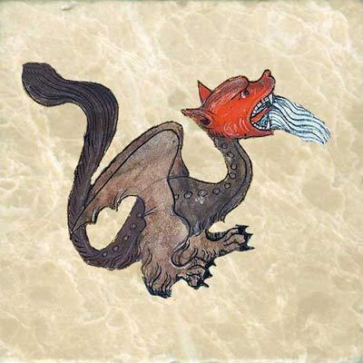 Apocalypse dragon spewing water, from the Yates Thompson Apocalypse, Paris, c. 1370-c. 1390