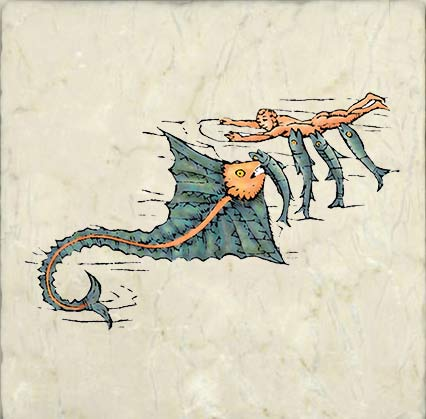 Carta Marina sea dragon - from the 'Carta Marina' map of Scandinavia and Iceland produced between 1527 and 1539 by Olaus Magnus, the archbishop of Uppsala, after his exile to Danzig.  Technically, a medieval dragon, but included here because Nordic dragons themselves are pre-medieval.