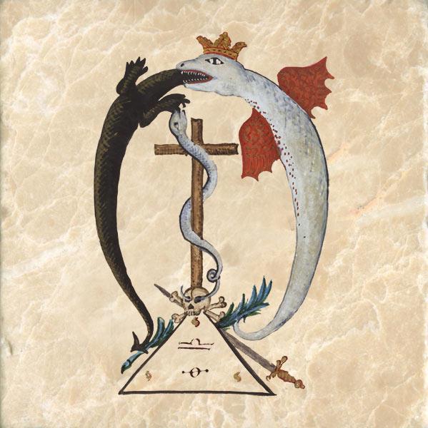 Dark and light dragons from the Clavis Inferni sive magia alba et nigra approbata Metratona, a late 18th century book of magic