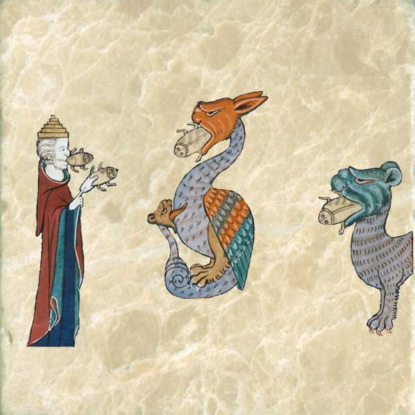 False prophet, Apocapytic dragon and beast, with frogs coming out of their mouths. British Library, early 15th century.